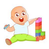 Ett barn med leksaker rattlar i en vagga. Vektor platt illustration
