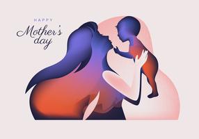 Mutter-Tagesschattenbild-Vektor-Zusammenfassung vektor