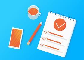 Enkätundersökningar. Gör ett val på tabletten. Checklista Mallar. Anteckningsblock med en lista och en penna. Vektor platt illustration