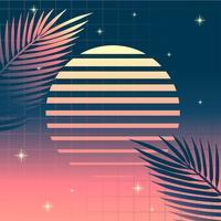 Retro Hintergrund Vaporwave tropische Blätter Sun vektor