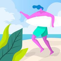 Flacher Mann bereit zum Surfen, die Vektor-Illustration surfend genießend vektor