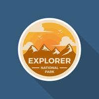 Flacher Retro Abzeichen-Nationalpark-Vektor Logo Template