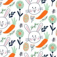 Nettes Ostern-Muster mit Häschen, Ei, Karotte und Blumenelementen