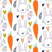 Ostern-Muster mit Herzen, Häschen, Karotte, Blättern und dekorativem Ei
