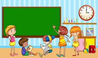 Barn lär sig i klassrummet vektor