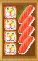 En toppvy av de olika varianterna av sushi vid bordet