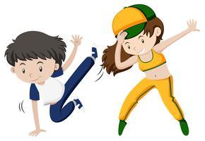 Mann und Frau, die Hip-Hop-Tanz tun vektor