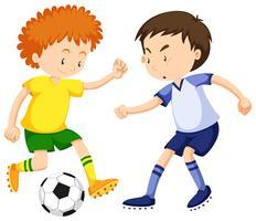 Jungen, die zusammen Fußball spielen vektor