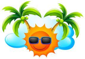 Ein sonniges Wetter mit Kokospalmen