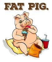 Fettes Schwein isst Eis vektor