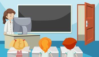 Schüler im Klassenzimmer vektor