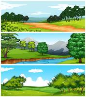 Tre naturscener med fält och träd vektor