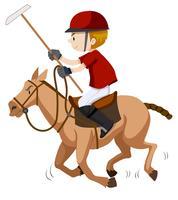 Polospieler, der auf Pferd reitet vektor