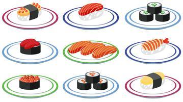 Sats med sushi på tallrik vektor