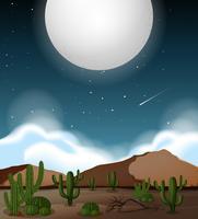 Fullmåne över ökenscenen vektor