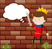 Kleiner Prinz, der Schwert hält vektor