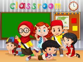 Många barn lär sig i klassrummet vektor