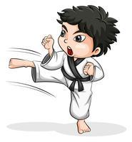 Ein asiatischer Taekwondo-Spieler vektor