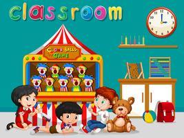 Barn har kul i klassrummet vektor