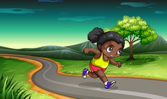 En svart tjej joggar