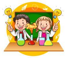 Junge und Mädchen, die wissenschaftliches Experiment tun vektor