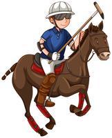 Man på häst som spelar polo vektor