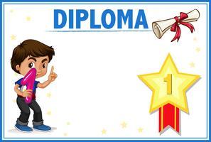 Diplom med pojke koncept