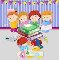 Pojkar och tjejer läser böcker i klassen