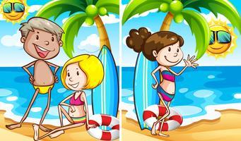 Två scener av människor på stranden vektor