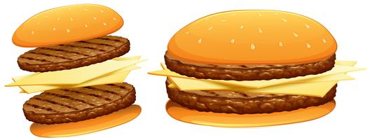 Hamburgare med nötkött och ost vektor