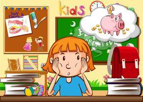 Liten flicka sitter i klassrummet vektor