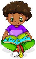 En ung svart tjej läser vektor