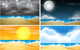 Set Strandhintergrund mit unterschiedlichem Wetter vektor