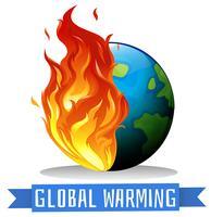 Global uppvärmning med jord på flamma vektor