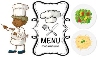Man kock och olika mat på menyn