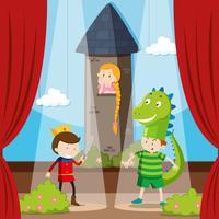 Kinder, die auf der Bühne Rollenspiele machen vektor