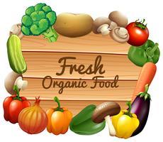 Många grönsaker och tecken