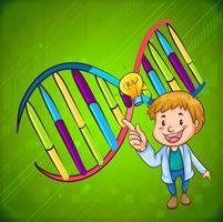 Man och DNA-diagram vektor