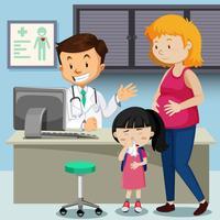 Schwangere Mutter mit krankem Mädchensitzungsdoktor vektor