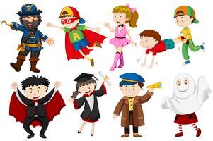 Människor i olika kostymer vektor