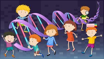 Kinder mit DNA-Diagramm vektor
