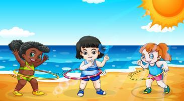 Flickor på stranden vektor