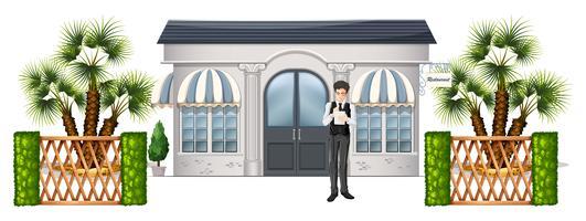 Ein Kellner wartet auf Kunden vektor