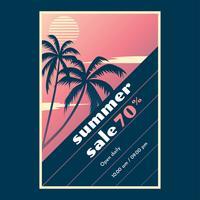 Retro Poster Himmel Strand Verkauf Vorlage