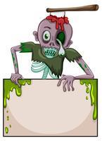 Ein Zombie, der ein leeres Schild hält