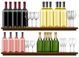 Set verschiedener Wein