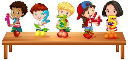Barn räknar nummer ett till fem vektor