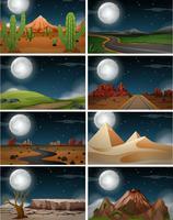 Set av naturlandskap på natten