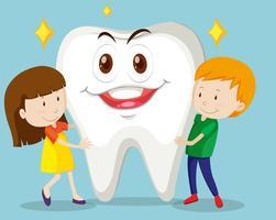 Jungen und Mädchen mit sauberem Zahn vektor