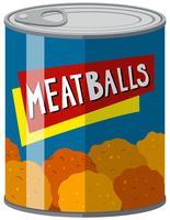 Konserverad mat med köttbullar inuti
